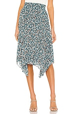 1. STATE Woodland Floral Handkerchief Hem Skirt in Teal Floral