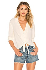 1. STATE LS Button Down Tie Front Blouse in Antique White