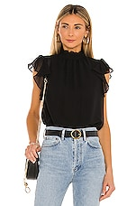 1. STATE Flutter Sleeve Top in Rich Black