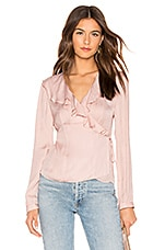 1. STATE Ruffle Wrap Top in Shadow Pink