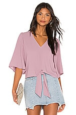 1. STATE Flounce Sleeve Tie Front V Neck Blouse in Wildflower