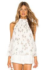 1. STATE Halter Tie Pleated Floral Belle Blouse in Soft Ecru Blush