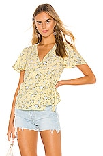 1. STATE Short Sleeve Wrap Front Blossom Cluster Blouse in Honeysuckle