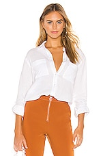 1. STATE Patch Pocket Roll Tab Double Gauze Top in Ultra White
