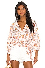 1. STATE Wrap Front Petal Leaf Garden Blouse in Gold Sun