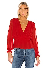 1. STATE Cinched Waist Wrap Front Blouse in Cherry Red