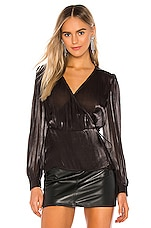 1. STATE Wrap Front Organza Blouse in Rich Black