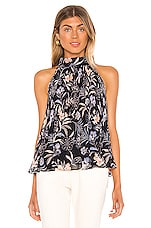1. STATE Halter Tie Pleated Paisley Tank in Blue Multi