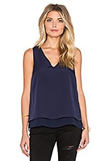 Short Sleeve Double Layer Tank with Chiffon en Nightshade