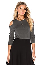 Long Sleeve Cold Shoulder Top in Medium Heather Grey