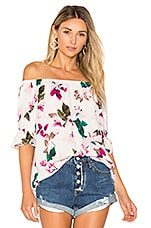 Off Shoulder Blouse With Smocked Sleeves in Cloud