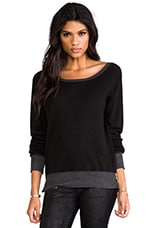 Off the Shoulder Sweatshirt with Zips in Black
