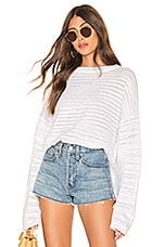 525 america Cropped Kimono Sleeve Pullover in Bleach White