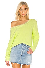 525 america 2 Way Distressed Sweater in Citrus Green