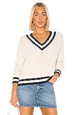 525 america Varsity V-Neck Cropped Sweater in Ecru Melange Multi