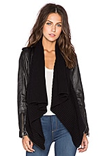 Leather & Sweater Envelope Cardigan in Black