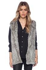 525 america Rabbit Fur Hooded Vest in Natural Grey