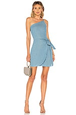 About Us Wendy One Shoulder Tie Dress in Chambray