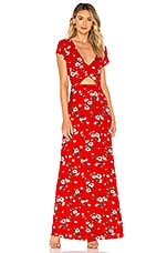 About Us Zahara Floral Maxi Dress in Red Multi