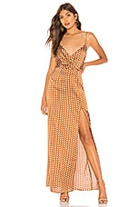 About Us Lorie Slit Maxi Dress in Brown Polka Dot
