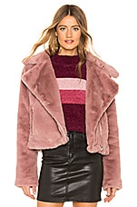 About Us Sophie Faux Fur Moto in Blush