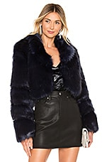 superdown Kaitlyn Faux Fur Jacket in Navy