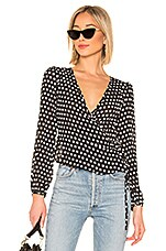 About Us Tamia Wrap Tie Top in Black Polka Dot