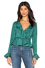 About Us Taisha Ruffle Sleeve Top in Emerald