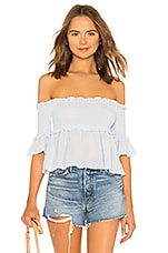 About Us Dolly Off Shoulder Smocked Top in Baby Blue
