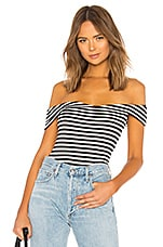 About Us Joey Off Shoulder Top in Black & White