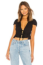 superdown Sara Tie Front Drawstring Top in Black