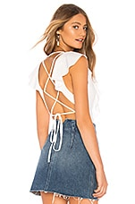 superdown Leslie Lace Up Back Bodysuit in White
