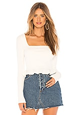 superdown Priscilla Ribbed Top in White
