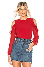 About Us Naya Ruffle Shoulder Blouse in Red