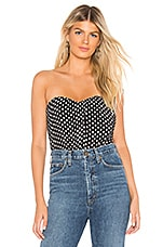 About Us Tiffany Sweetheart Top in Black Polka Dot