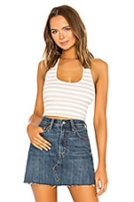 superdown Nikki Ribbed Halter Crop Top in Nude Stripe