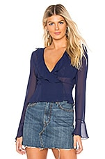 About Us Hartley Ruffle Top in Navy