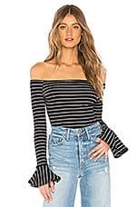 About Us Fioana Bodysuit in Black & White Stripe
