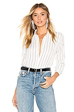 About Us Clara Button Up Top in White & Black
