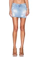 Acquaverde Claudia Distressed Mini Skirt in Light Used Destroy