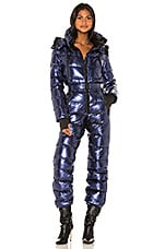 ADD Down Sky Suit With Detachable Hood in Blue Metal