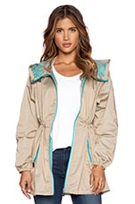 Unlined Parka in Biscuit & Turquoise