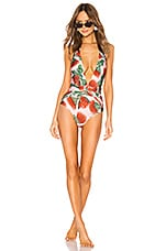 ADRIANA DEGREAS Fiore Twisted Halter Neck Swimsuit in Rose