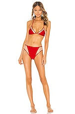 ADRIANA DEGREAS x Cult Gaia Hot Pants Triangle Bikini Set in Red