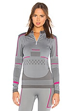 adidas by Stella McCartney Training Seamless Long Sleeve Top in Mid Grey & Bold Pink