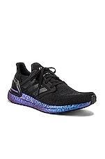 adidas Originals Ultraboost 20 in Core Black & Core Black & Boost Blue Violet Met