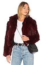 Adrienne Landau Rabbit Jacket With Fox Collar in Cranberry