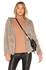 Adrienne Landau Knit Rabbit Hoodie in Light Grey