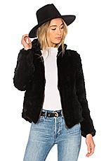 Adrienne Landau Knit Rabbit Zip Jacket in Black