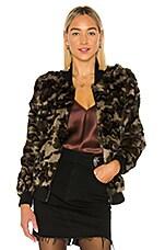 Adrienne Landau Rabbit Fur Camo Varsity Jacket in Camo